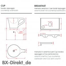 Waschbecken CUP schwarz weiß, der Waschtisch in Form einer Tasse Kaffeetasse