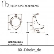 Retro Gastro Urinal Pissoir Druckspüler Pinkelbecken Schwarz im 70er Jahre Style