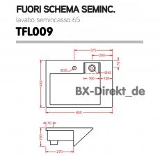 Halbeinbauwaschtisch Fuori Schema Semincasso aus Keramik und Edelstahl optional mit Nano-Effekt