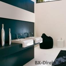 kleiner Halbeinbau-Waschtisch aus Keramik in Schwarz oder Weiß - 45 cm breit als Handwaschbecken geeignet