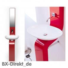 Waschtischsäule LaFontana Stand-Waschbecken in Rot mit Waschschale und Spiegelschrank