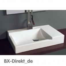eckig und  kantig, Waschtisch CUBIK, Keramik Aufsatz-Waschbecken mit klaren Formen aus Italien