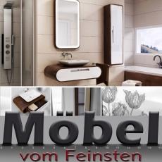 ovale Badkombination TULIP mit Designer Waschtisch gerundete Ecken im Esche-Design