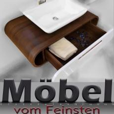 ovale Badkombination TULIP mit Designer Waschtisch gerundete Ecken abgerundet im Esche-Design