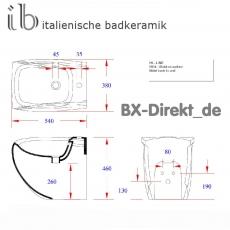 Standbidet HiLine zum Schnäppchenpreis original Bidet bodenstehend von Hidra Keramik aus Italien - Restposten aus Lagerauflösung
