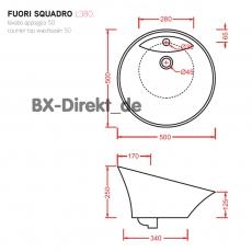 Formvollendeter Designer Aufsatzwaschtisch Fuori Squadro aus der Keramik Manufaktur ArtCeram aus Italien