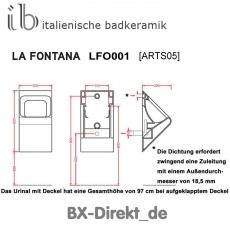 bicolor Designer Urinal mit Urinaldeckel in Schwarz, das Keramikurinal LaFontana mit dem optionalen Lotuseffekt