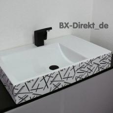 Waschtisch mit Dekormuster in schwarz grau ein moderner Dekor Waschbecken