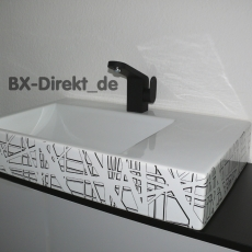 Designer Waschbecken mit exklusivem Dekor Muster in Schwarz und Weiss aus Italien