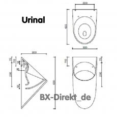 Urinal zeitlos in schönem Design aus italienischer Keramik - edles Pissoir