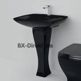 Schwarzer Waschtisch JAZZ, der Retro-Look Standwaschtisch in Schwarz aus Keramik