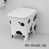 Designer WC im Kuhflecken Design mit Kuhfell Optik schwarz weiß