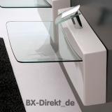 Vorbau-Waschtisch aus Keramik mit Glasplatte Waschbecken Crystal Wall