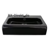 elegantes Halbeinbau-Waschbecken aus Keramik in Schwarz oder Weiss 65 cm optional mit Nano-Beschichtung