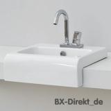 kleiner Halbeinbau-Waschtisch aus Keramik in Schwarz oder Weiss mit 45 cm Breite als Handwaschbecken geeignet