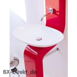 Waschtischsäule LaFontana in Rot Stand-Waschbecken mit Waschschale und Spiegelschrank