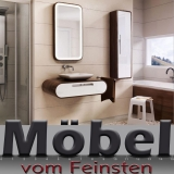 ovale Designer Badkombination TULIP mit Waschtisch gerundete Ecken abgerundet im Esche Design