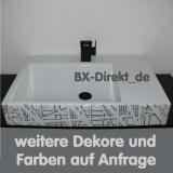 Designer Waschbecken mit exklusivem Dekor Muster in Schwarz Weiß aus Italien